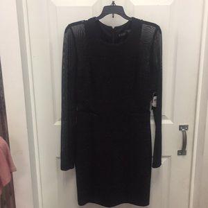 Guess black glitter illusion mesh dress